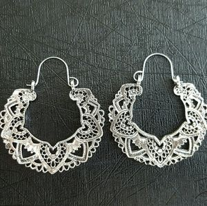 Vintage Silver Flower Earrings